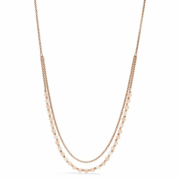 Collier FOSSIL Gemstones en acier PVD et pierre semi-précieuse