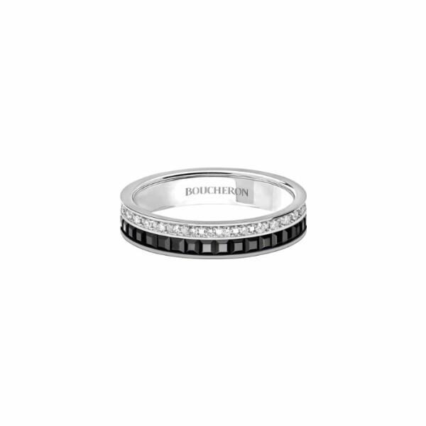 Alliance Boucheron Quatre Black Edition pavée de diamants sur or blanc et PVD noir