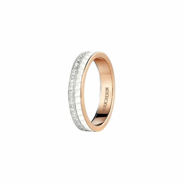 Alliance Boucheron Quatre White Edition pavée de diamants sur or rose, or blanc et céramique