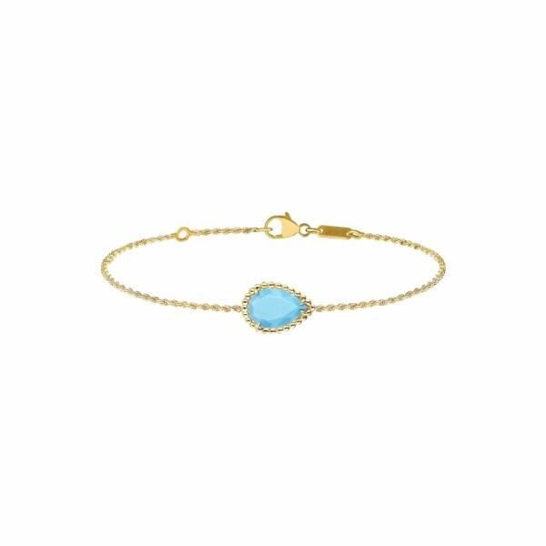 Bracelet Boucheron Serpent Bohème motif S en or jaune et turquoise