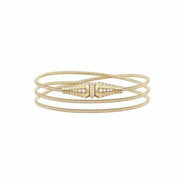 Bracelet Boucheron Jack trois tours en or jaune et diamants