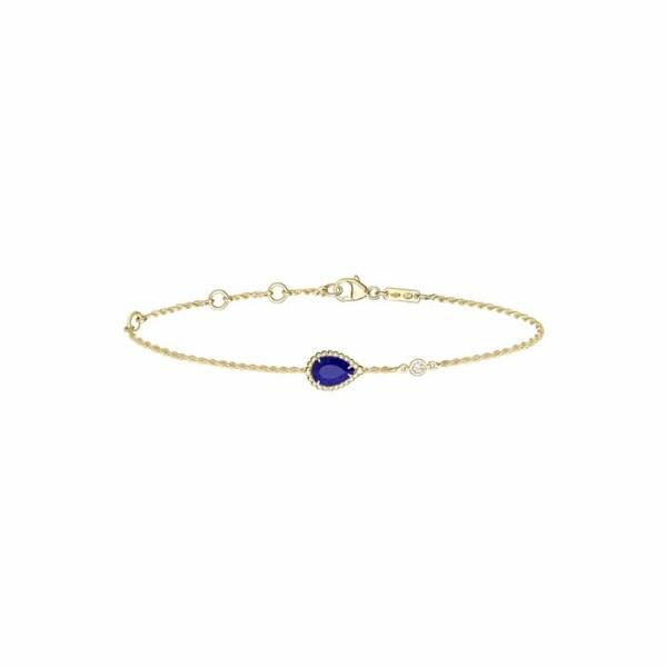 Bracelet Boucheron Serpent Bohème motif S en or jaune, diamants et lapis lazulis