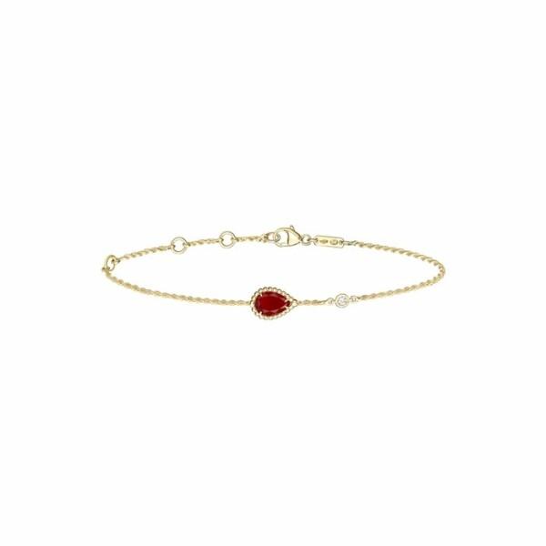 Bracelet Boucheron Serpent Bohème Motif XS en or jaune, cornaline et diamant