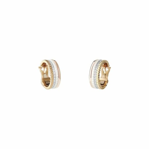 Boucles d'oreilles créoles Boucheron Quatre en céramique, or blanc, or jaune, or rose et diamants
