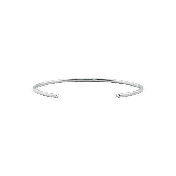 Bracelet jonc Vanrycke Massaï en or blanc et 2 diamants, taille 2