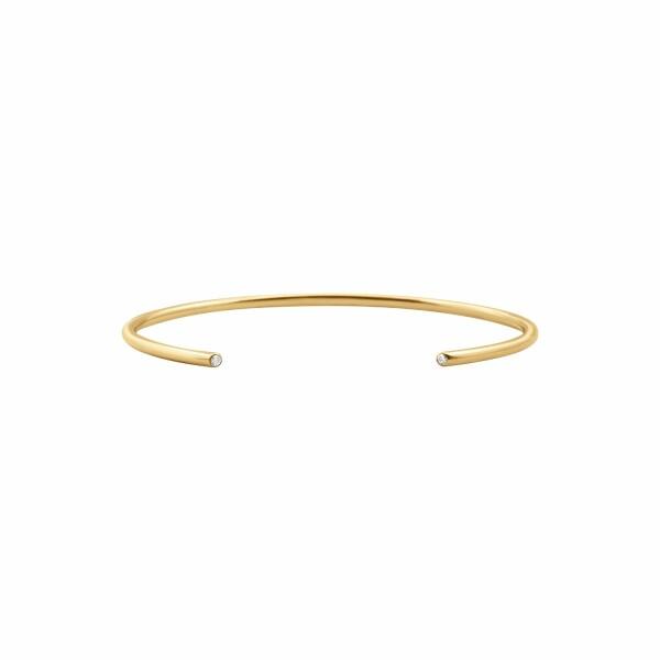 Bracelet jonc Vanrycke Massaï en or jaune et 2 diamants, taille 2
