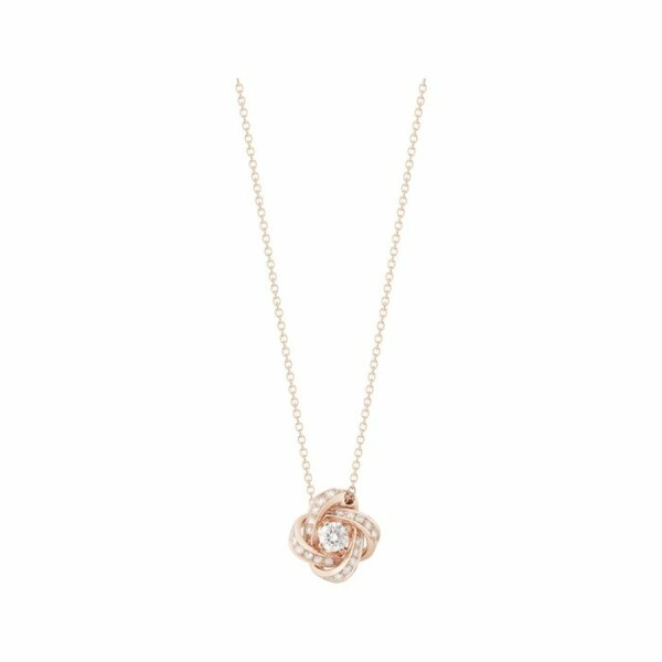 Pendentif Boucheron Pivoine en Or rose serti de diamants et Diamant diamant rond