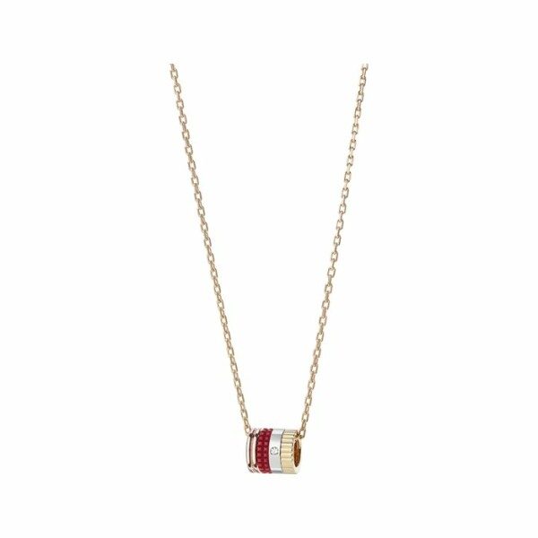 Pendentif Boucheron Quatre Mini Bague Red Edition en or jaune, or rose, or blanc, diamant et céramique