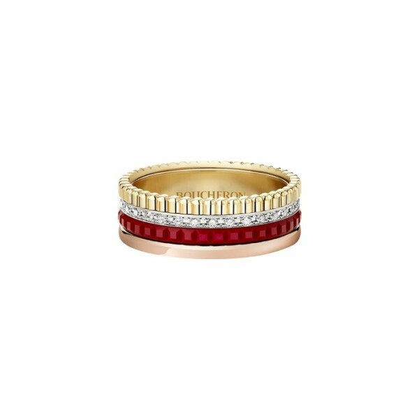 Bague Boucheron Quatre Red Edition, small en or jaune, or rose, or blanc, diamant et céramique