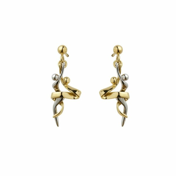 Boucles d'oreilles Jourdan Bijoux Tango en acier, plaqué or jaune