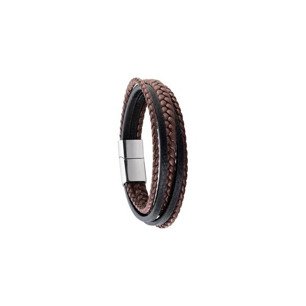 Bracelet Jourdan Bijoux Byron en cuir et acier
