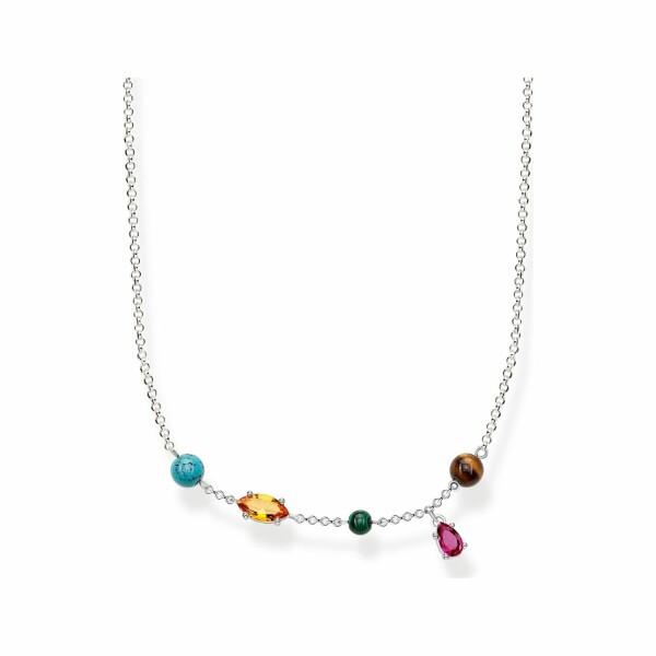 Chaîne Thomas Sabo Riviera Colours en argent et pierres multicolores