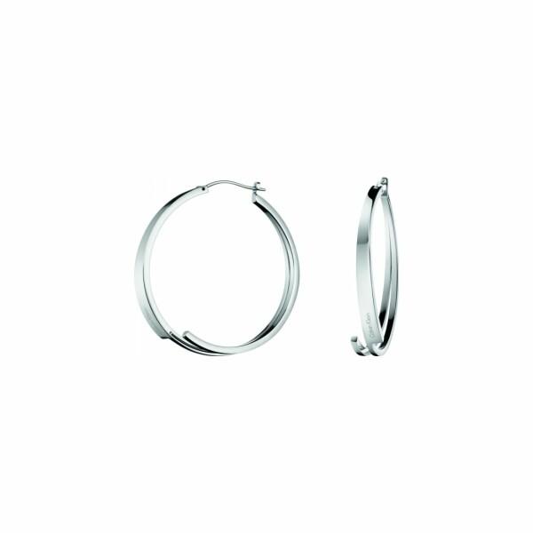 Boucles d'oreilles créoles Calvin Klein Beyond en acier