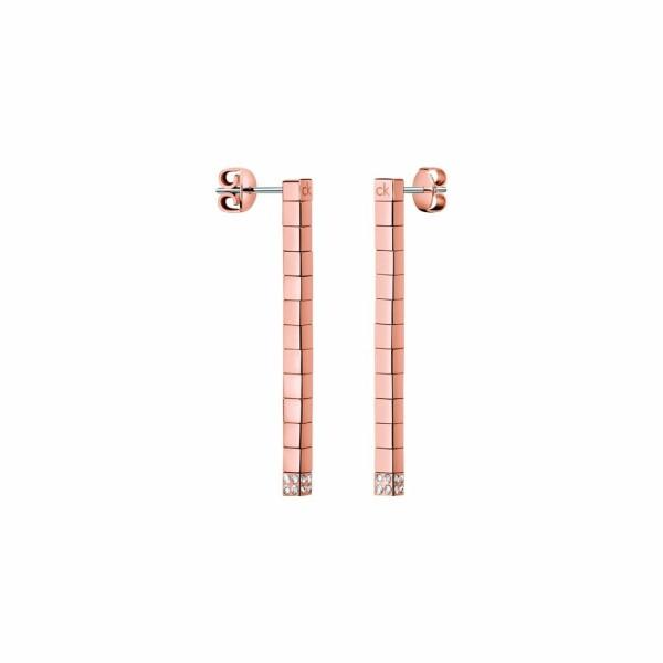 Boucles d'oreilles Calvin Klein Tune en plaqué or rose et cristal