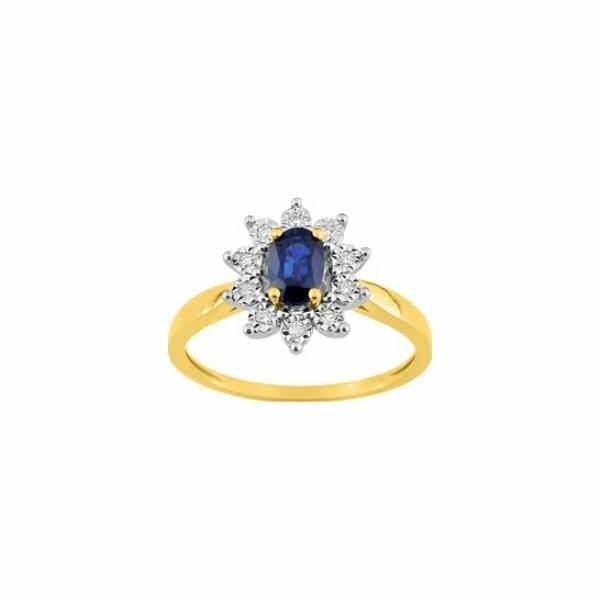 Bague en or blanc, or jaune et diamants et saphir