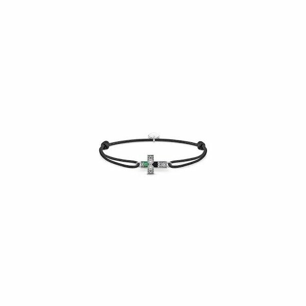 Bracelet Thomas Sabo Little Secret croix en argent, nacre et onyx