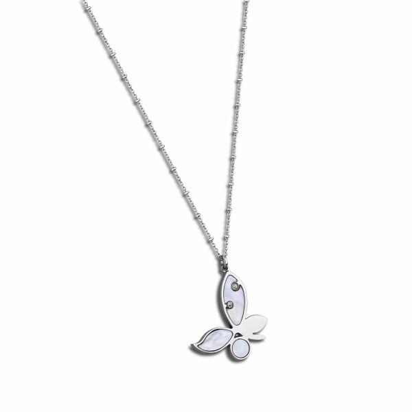 Collier Lotus Style Rainbow Fleurs en acier et oxydes de zirconium
