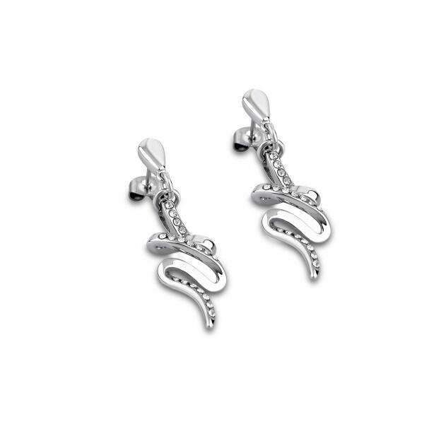 Boucles d'oreilles Lotus Style Urban Woman en acier et oxydes de zirconium