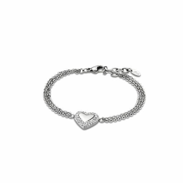 Bracelet Lotus Style Woman's heart Cœur en acier et oxydes de zirconium