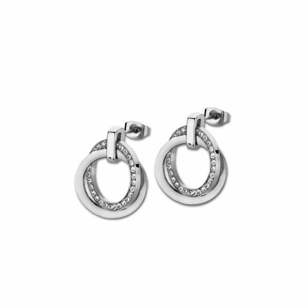Boucles d'oreilles Lotus Style Urban Woman Cercle en acier et oxydes de zirconium