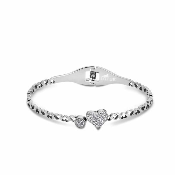 Bracelet Lotus Style Bliss Cœur en acier et oxydes de zirconium