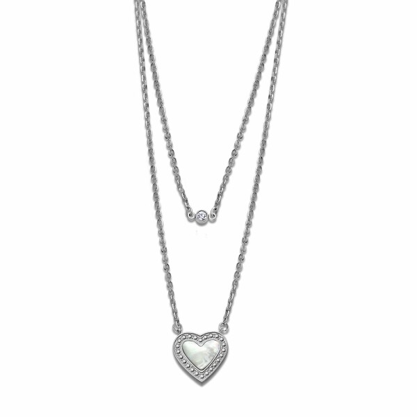 Collier Lotus Style Woman's heart en acier et nacre