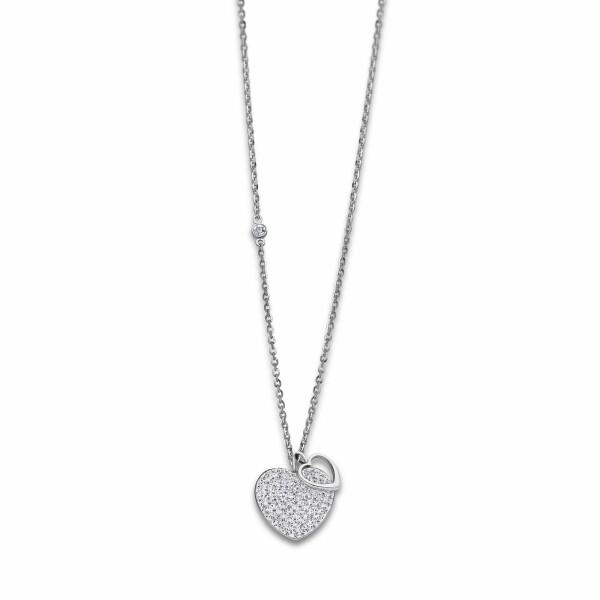 Collier Lotus Style Bliss Cœur en acier et oxydes de zirconium