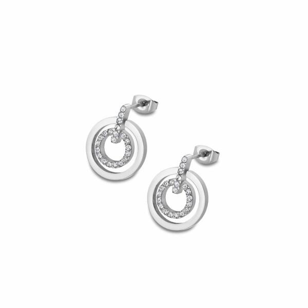 Boucles d'oreilles Lotus Style Bliss Double Rond en acier et oxydes de zirconium