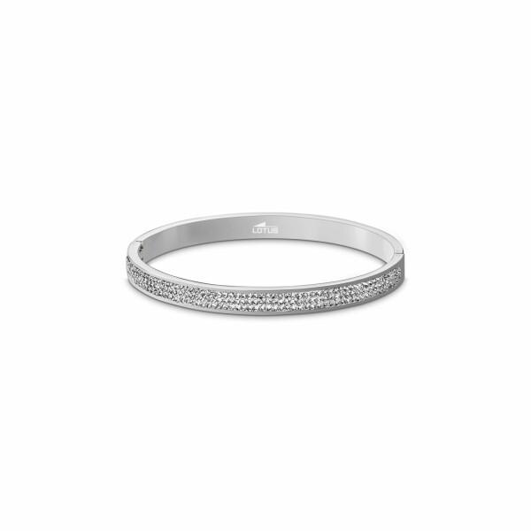 Bracelet jonc Lotus Style Bliss en acier et oxydes de zirconium