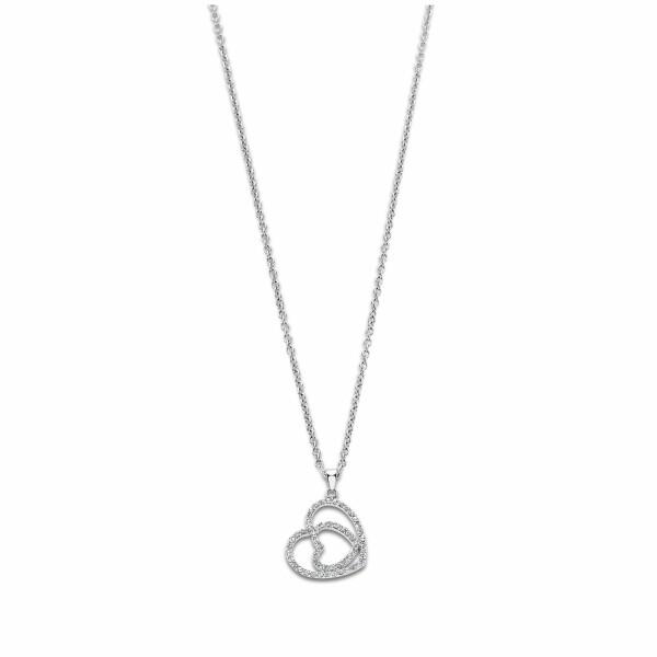 Collier Lotus Style Woman's heart Cœur en acier et oxydes de zirconium