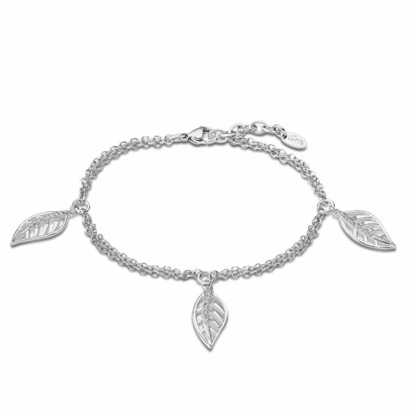 Bracelet Lotus Style Rainbow Feuilles en acier et oxydes de zirconium