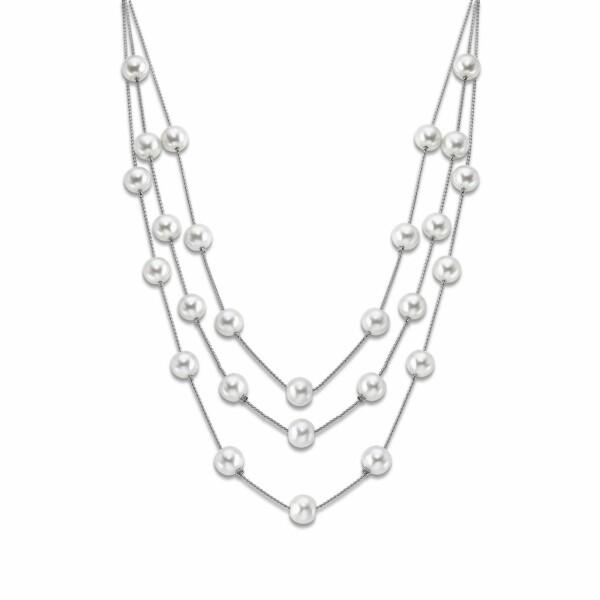 Collier Lotus Style Pearls en acier et perles