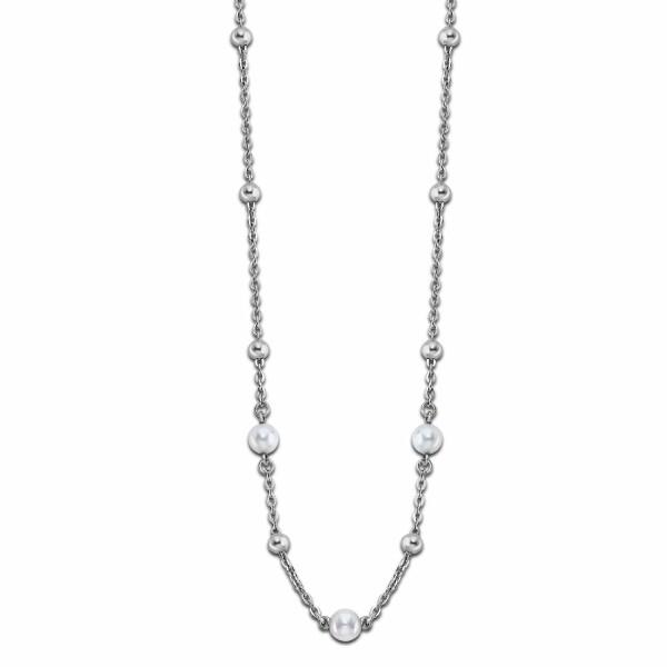 Collier Lotus Style Pearls en acier et perle