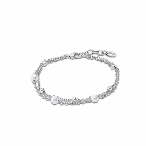 Bracelet Lotus Style Pearls en acier et perle