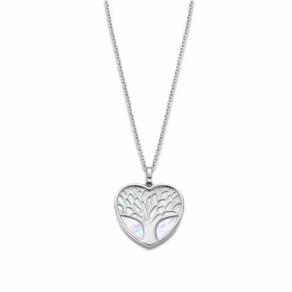 Collier Lotus Style Woman's heart Arbre en acier