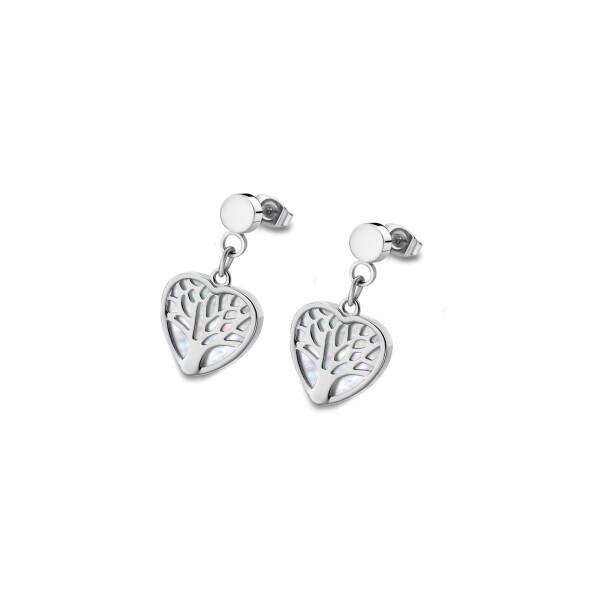 Boucles d'oreilles Lotus Style Woman's heart Arbre en acier