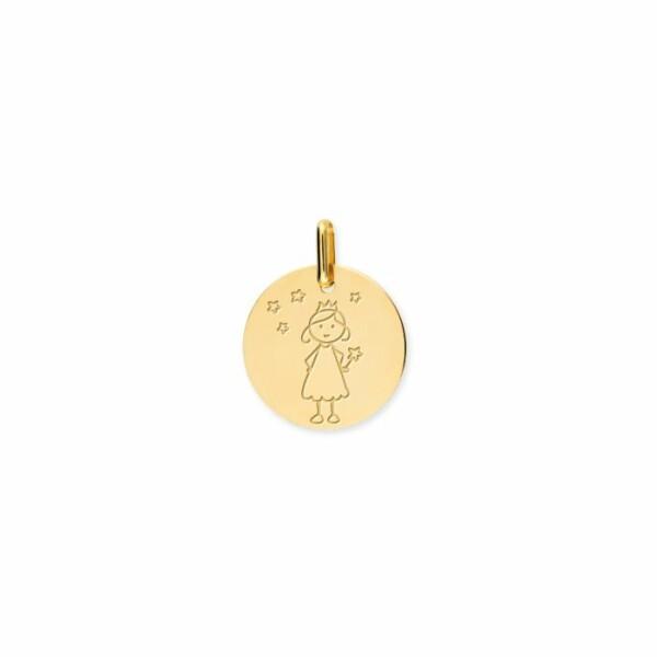 Médaille de baptême Lucas Lucor fée en or jaune