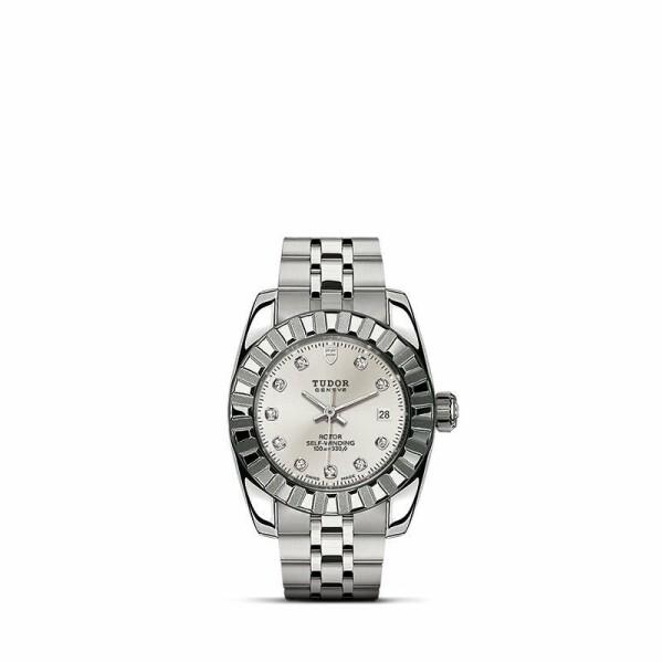 Montre TUDOR Classic Date boîtier en acier, 28mm, cadran serti de diamants