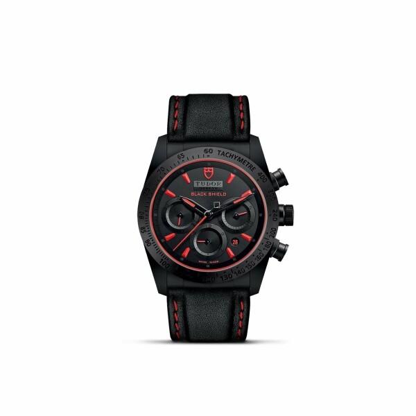 Montre TUDOR Fastrider Black Shield boîtier en céramique, 42mm, bracelet en cuir noir