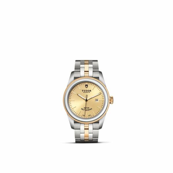 Montre TUDOR Glamour Date boîtier en acier, 31mm, lunette en acier et or jaune