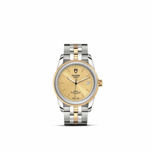 Montre TUDOR Glamour Date boîtier en acier, 36mm, lunette en acier et or jaune