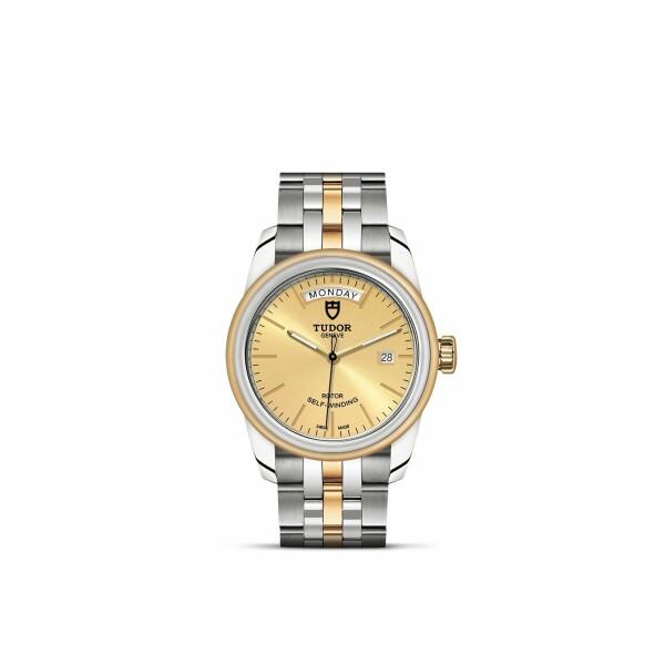 Montre TUDOR Glamour Date + Day boîtier en acier, 39mm, lunette en acier et or jaune