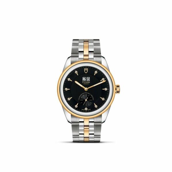 Montre TUDOR Glamour Double Date boîtier en acier, 42mm, cadran serti de diamants