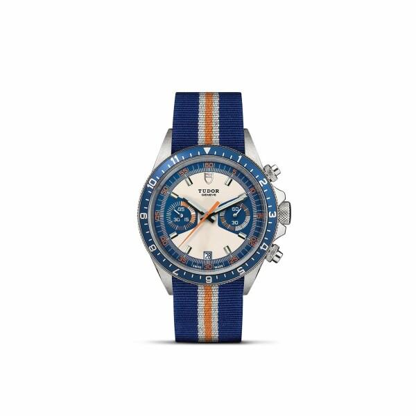 Montre TUDOR Heritage Chrono Blue cadran opaline et bleu, bracelet en tissu