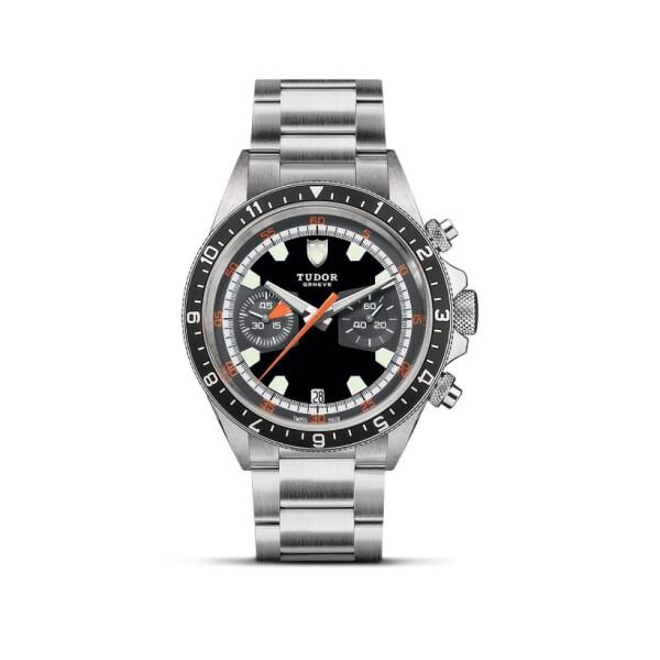 Montre TUDOR Heritage Chrono cadran noir et gris, bracelet en acier