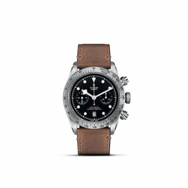 Montre TUDOR Black Bay Chrono boîtier en acier, 41mm, bracelet en cuir vieilli