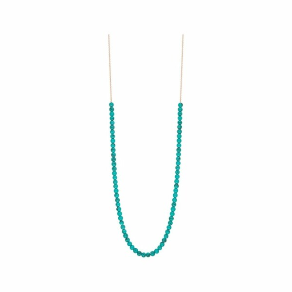 Collier GINETTE NY MARIA en or blanc et turquoise