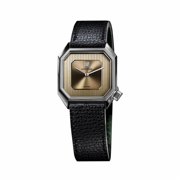 Montre March L.A.B Mansart Automatique Magnum - Bracelet en cuir grainé noir