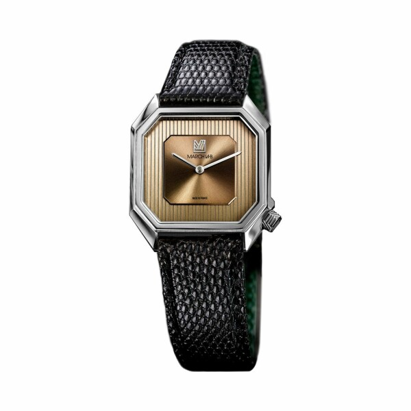 Montre March L.A.B Mansart Automatique Magnum - Bracelet lézard noir