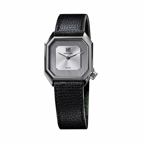Montre March L.A.B Mansart Automatique Steel - Bracelet en cuir grainé noir